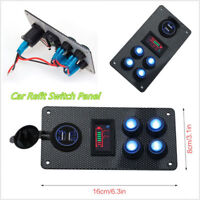 Universal Car Boat Marine Rocker Switch Panel Blue LED Voltmeter Gauge &2USB 12V