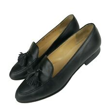 GUCCI Tassel Black Leather Loafers Size 7.5 B MADE IN ITALY Vintage