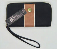 Stone Mountain Ladies Clutch Wallet with wrist strap. Black & Brown Leather NEW