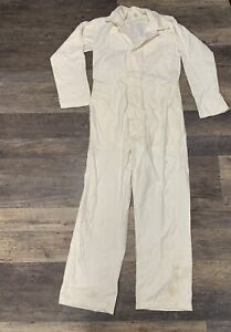 Vintage US Military 1970's Utility Safety Suit White Cotton Coverall - SMALL