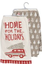HOME FOR THE HOLIDAYS Christmas Tea Towels, Set of 2, Primitives by Kathy