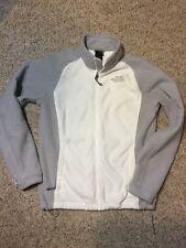 Women North Face Medium Off White Beige Gray  Zipper Up Fleece Jacket