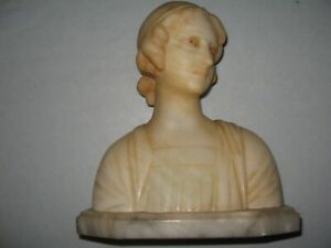 Antique Italian Bust Woman Alabaster Marble 8 inch  Italy Statue