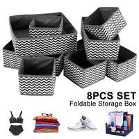 8Pcs Underwear Sock Tie Storage Organizer Drawer Bra Pants Divider Tidy Wardrobe