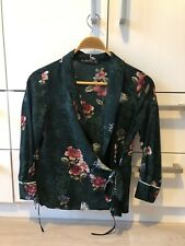Zara Blouse Floral Crane Bird Top Green Wrap Shirt Kimono Asian Print Small 8 10