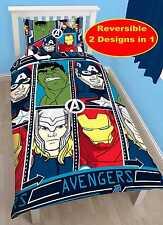 MARVEL Avengers Tech Singolo Copri Piumone Set per Ragazzi Hulk Thor Iron Man America