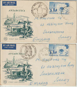 ANTARCTICA / PENGUINS - AUST. MAWSON & MACQUARIE 1956 FDC's