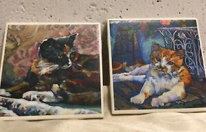 Set If 2 Cat Ceramic Cork Backed Coasters, Art Tile Coasters, Unique And Fun