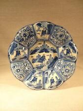 ANCIEN PLAT POLYLOBE FAIENCE NEVERS DECOR CHINOIS BLANC BLEU EPOQUE XVIII ème
