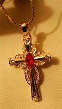 Sparkling Red Rhinestone Open Scalloped Goldtone Cross Pendant Necklace