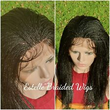 Braided Wig, Lace Front Shoulder Length Micro Twists Braids Wig, Full Density!