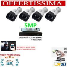 KIT VIDEOSORVEGLIANZA AHD 8 CANALI 4 TELECAMERE HD 3.6MM 5 MPX MP P2P IP CLOUD