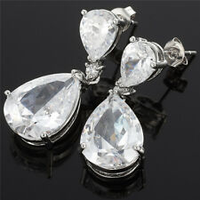 Celebrity Inspired By Angelina Jolie Fine Topaz Prom Teardrop Dangle Earrings