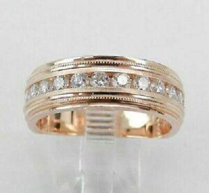 14K Rose Gold FN 2.00 Ct Mens Round Diamond Engagement Wedding Pinky Ring Band