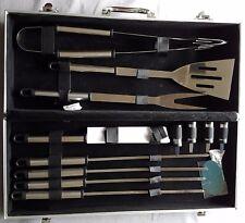 Grillbesteck 12 teilig Edelstahl Grillspieße Messer Grillzange + Edelstahlkoffer