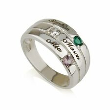 Mothers Ring Engraved Birthstone Ring 3 Stones Ring -925 Sterling Silver