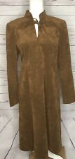 Mollie Parnis Dress Women's Size 14 Brown Ultra Suede Vintage Long Tie Neck A26