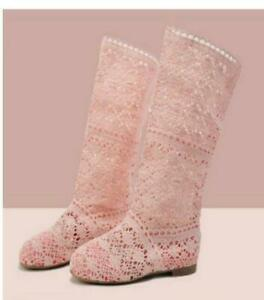 Women's Hollow Out Mid Calf Boots Knitted Boot Shoes Flat Heel Breathable Shoes