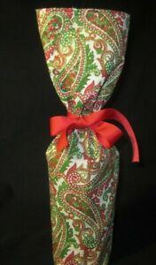CHRISTMAS RED GREEN WHITE PAISLEY HOLIDAY RED WINE BOTTLE HOLDER GIFT BAG