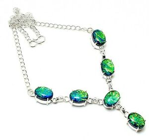"Triplet Opal Gemstone Handmade 925 Sterling Silver Jewelry Necklaces Sz 18"""