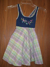 Girls Size 3T Youngland Purple Green Denim Plaid Floral Dress