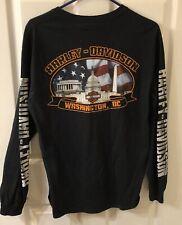 Vintage Washington DC Harley Davidson Longsleeve T Shirt Med Two Sided