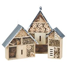Wooden Insect Bug Hotel House Outdoor Garden Shelter Bees Flies Metal Roof