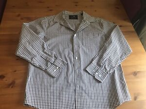 Stone Bay Large Mens Checked Shirt Long Sleeves Green White Brown 48 Chest