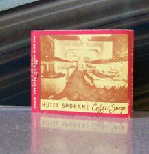 Rare Vintage Matchbook W9 Circa 1940 Washington Spokane Hotel Coffee Shop