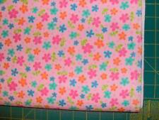 lollipop flowers in bright colors on  pink flannel quilt fabric BTHY QA FL108