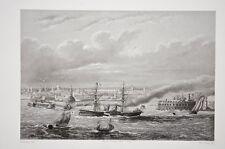 New York , bateaux à vapeur à aube, gravure par Colin d'après Fichot 1850 env.