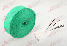 "FIBERGLASS Exhaust Thermo Wrap Tape High Heat 2"" x 1/16X25FT Cloth Roll GREEN"