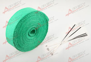 "FIBERGLASS Exhaust Thermo Wrap Tape High Heat 2"" x 1/16X25FT Cloth Roll GREEN"