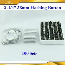 "2-1/4"" 58mm 100Sets Flashing Shine Light Badge Button Parts for Button maker"