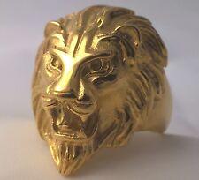 G-Filled Men's 18ct gold LARGE King Lion ring Animal bikie 14.5 grams size 12.5