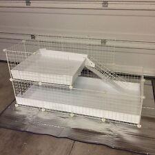 """Loft Guinea Pig Hedgehog Cage 2x4 + 2x2 Loft -14"""" White Wire Grid W/liner C&C"""