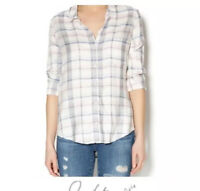 Joie Soft Button Down Plaid Casual Top Shirt Woman Size XS White Red Blue Black