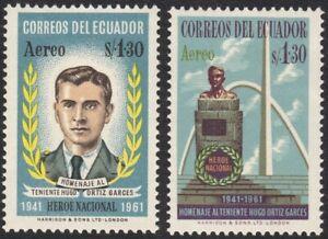 1961 Ecuador SC# C381-C382 - Lt. Hugo Ortiz G. Killed in Battle - M-HR
