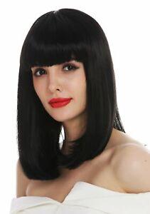 Perruque pour Femme Longue Jusqu'aux Épaules Lisse Frange Noir Clavi-Cut Femme,