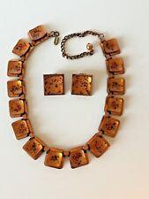 Vtg Matisse Renoir copper enamel necklace earrings set Orange gold black spatter
