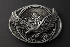 EAGLE FLYING OVER MOUNTAINS GREY BELT BUCKLE METAL AMERICAN STYLE