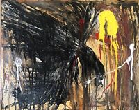 """Murderous Crow the Hunter"", Original Abstract Art Canvas Painting Oils"