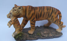 Free standing graceful tiger with cub standing on a rock decorative ornament