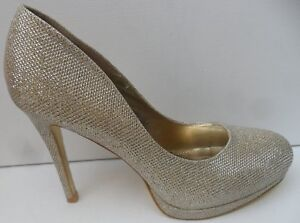 Women's Bellucci New Gold Glitter Stiletto High Heel Shoes - Size UK 7 EUR 40