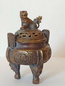 Antique Chinese Bronze Or Brass Censer Incense Burner With Foo Lion