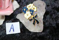 Modeschmuck Broschen Anstecknadeln Emaille Blumen 3,5 x 2 cm