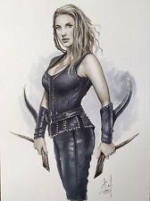 Original Fantasy Art Pinup Erotic Alex Miranda Huntsman Jessica Chastain Sara