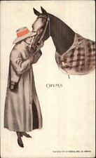 Woman in Hat & Long Jacket Nuzzling Horse CHUMS c1910 Postcard