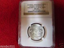 1993 Mexico Veracruz .999 Silver Nuevo 1 Peso NGC MS65 Bajorrelieve de el Tajin