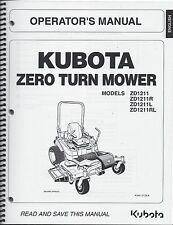 Kubota ZD1211 Zero-Turn Mower Operator Manual K3441-71256